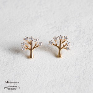 2018 A/W Pierced Earring Tree Rhinestone Gold Accessory