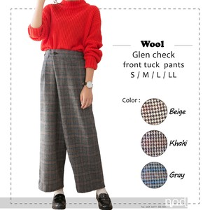 2018 A/W Club Checkered Pants Front Tuck Tuck Pants Tartan Check