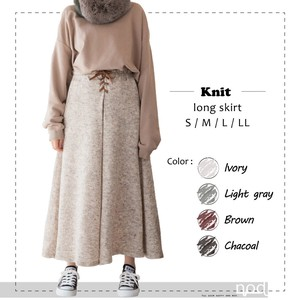 Knitted Skirt Tuck Flare Long