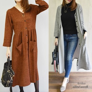 2018 A/W Cut Gather Switching Long One-piece Dress