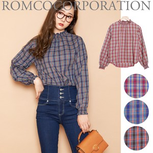 2018 A/W Color Checkered Shearing High Neck Blouse