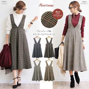 2018 A/W One-piece Dress Ladies Checkered Checkered Flare V-neck One Piece