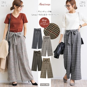 2018 A/W wide pants Ladies Checkered Checkered Ribbon Waist Ribbon Long