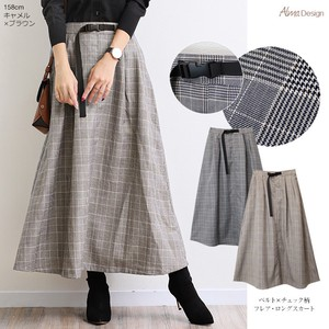 2018 A/W Skirt Ladies Checkered Flare Long Checkered Belt Attached
