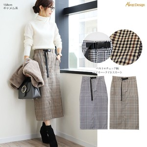 2018 A/W Skirt Ladies Checkered Long Club Checkered
