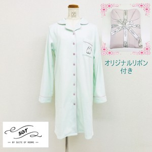 Ribbon Attached Rabbit Embroidery Shirt One-piece Dress Loungewear Room