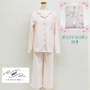 Ribbon Attached Rabbit Embroidery Shirt Set Loungewear Room