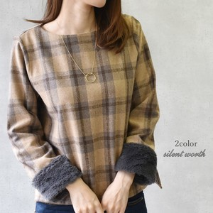 2018 A/W Tweed Checkered Fur Switching Pullover