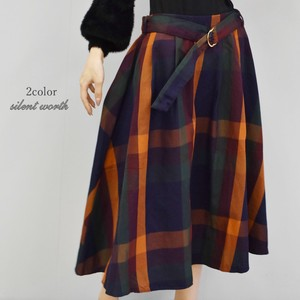 2018 A/W Belt Large Format Checkered Flare Skirt