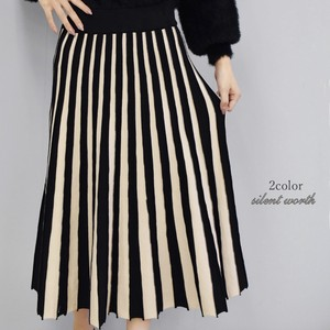 2018 A/W Bi-Color Switching Knitted Flare Skirt