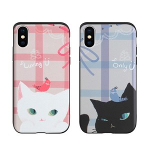 【iPhone XS/X】【iPhone XR】Card slide Cat Couple(カードスライド キャットカップル)