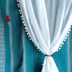 TOPANGA INTERIOR COTTON VELVET POMPOM CURTAIN コットンボイルポンポンカーテン W105xH100cm