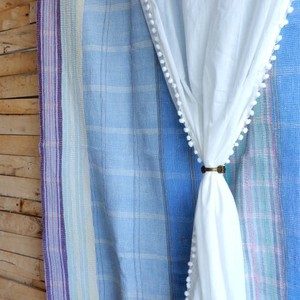 TOPANGA INTERIOR COTTON VELVET POMPOM CURTAIN コットンボイルポンポンカーテン W105xH180cm