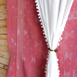 TOPANGA INTERIOR COTTON VELVET POMPOM CURTAIN コットンボイルポンポンカーテン W105xH200cm