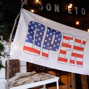 TOPANGA INTERIOR Shop Sign Flag/American Open Flag