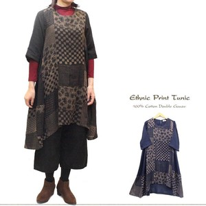 2018 A/W Double Gauze Ethnic Print Patchwork Behind Longer Tunic