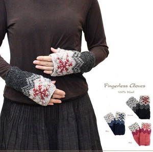 2018 A/W Hand Knitting Wool Snow Motif Embroidery Lining Attached Finger Free Glove