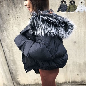 With Hood Padding Short Down Jacket Outerwear Short Fur Removal Button A/W