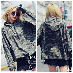 Korea Ladies Fashion Camouflage Padding Coat Hoody