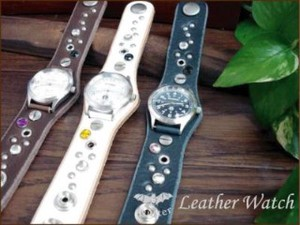 Stone Studs Watch Maid Japan Leather