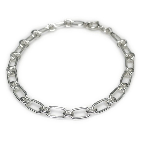 Silver 925 Silver Bracelet Oval Round Chain Export Japanese