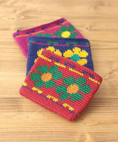 Wallet Floral Pattern Cotton Knitted Crochet Hook Pouch Colorful ...